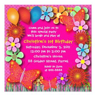 Convite do aniversário 003 borboletas e flores