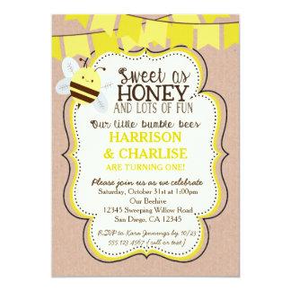 Convite do aniversário da abelha das abelhas dos
