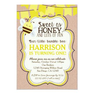Convite do aniversário da abelha para o menino ou