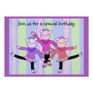 Convite do aniversário da bailarina de Prima