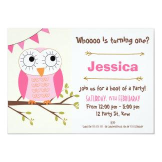 Convite do aniversário da coruja das meninas