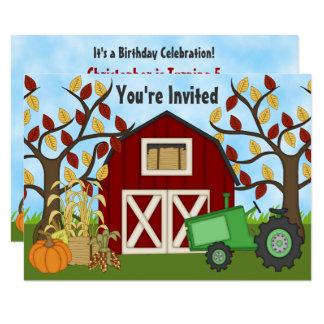 Convite do aniversário da fazenda do outono do