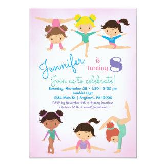 Convite do aniversário da ginástica - rosa das