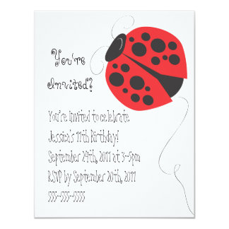 Convite do aniversário da ilustração do joaninha