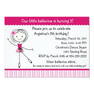 Convite do aniversário da menina da bailarina