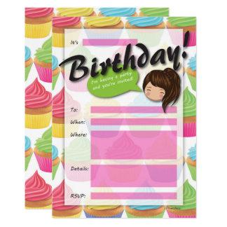Convite do aniversário da menina do cupcake -