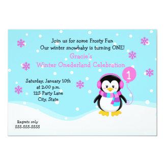 Convite do aniversário da menina do pinguim