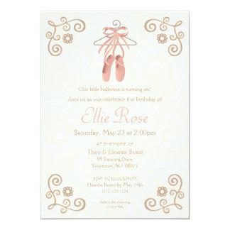 Convite do aniversário da menina dos calçados de convite 12.7 x 17.78cm