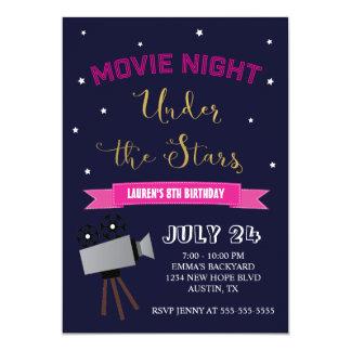 Convite do aniversário da noite de cinema - sob as