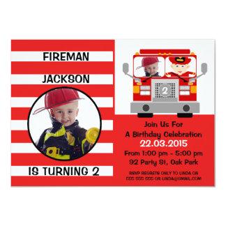 Convite do aniversário da viatura de incêndio dos