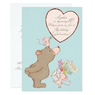 Convite do aniversário das crianças do urso e do