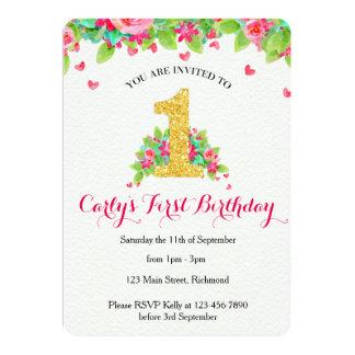 Convite do aniversário das meninas primeiro - rosa