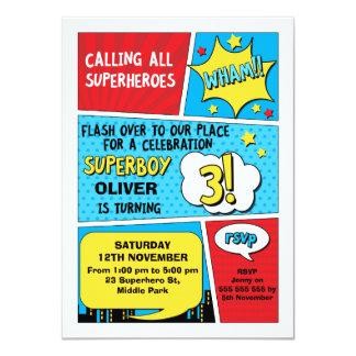 Convite do aniversário de 3 anos do super-herói