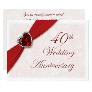 Convite do aniversário de casamento do damasco