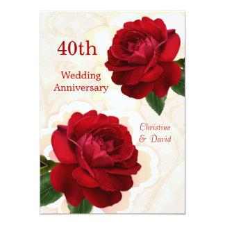 Convite do aniversário de casamento do rubi das