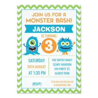 Convite do aniversário de Chevron dos monstro dos