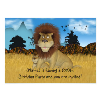 Convite do aniversário de crianças do leão dos