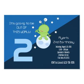 Convite do aniversário de Outerspace 5x7 da