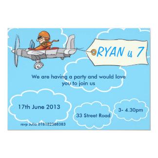 Convite do aniversário do avião dos meninos