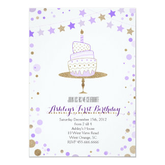 Convite do aniversário do bolo do brilho do ouro