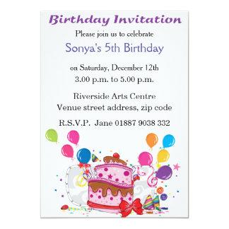 Convite do aniversário do bolo e dos balões convite 12.7 x 17.78cm