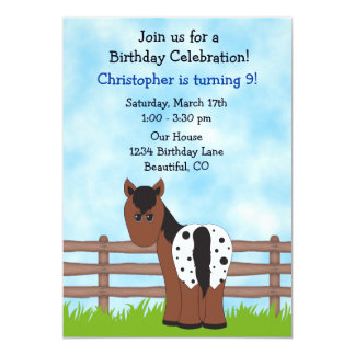 Convite do aniversário do cavalo para meninos