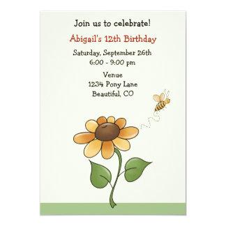 Convite do aniversário do girassol para meninas