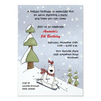 Convite do aniversário do inverno do urso polar