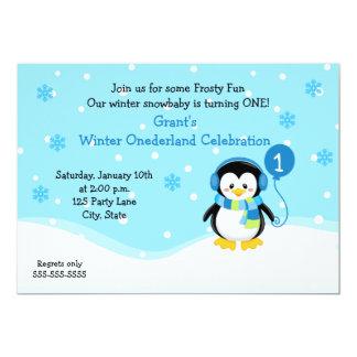 Convite do aniversário do menino do pinguim