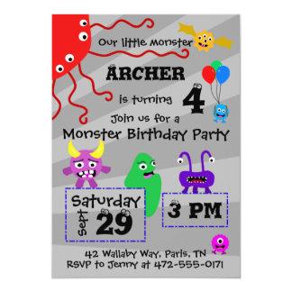 Convite do aniversário do miúdo do monstro