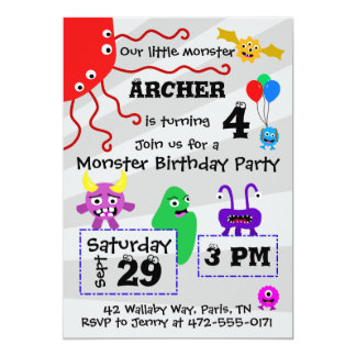 Convite do aniversário do miúdo do monstro - luz