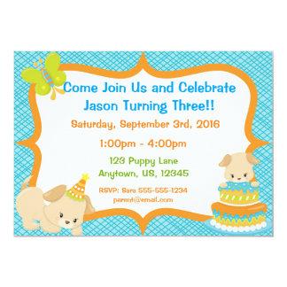 Convite do aniversário do partido do filhote de