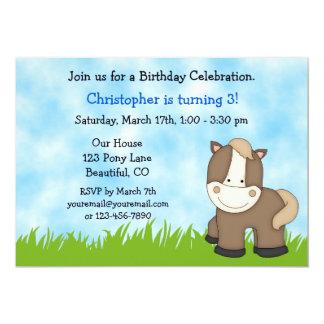 Convite do aniversário do pônei para meninos