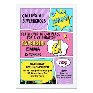 Convite do aniversário do super-herói das meninas