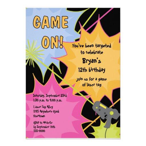 Convite do aniversário do Tag do laser