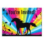 Convite do aniversário do unicórnio e do arco-íris