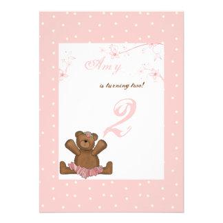 Convite do aniversário do urso da bailarina