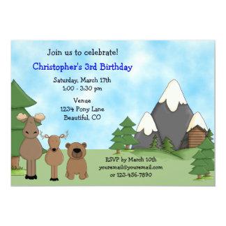 Convite do aniversário dos animais da montanha