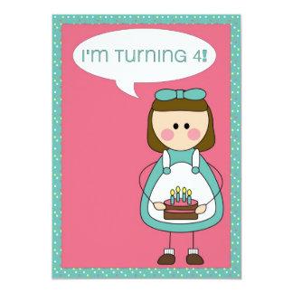 convite do aniversário (menina que gira 4)