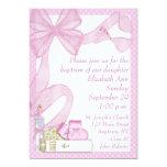 Convite do arco do rosa do baptismo convite 12.7 x 17.78cm