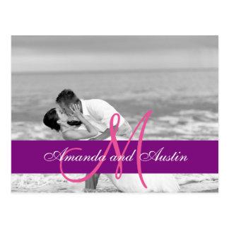 Convite do beijo do casamento de praia/casamento cartão postal