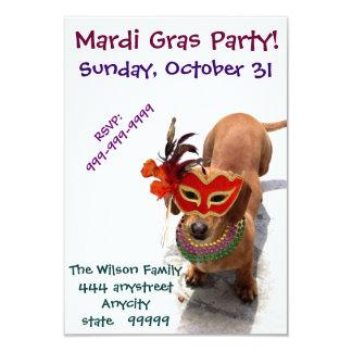 Convite do cão do Dachshund do partido do carnaval