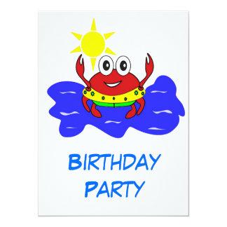 convite do caranguejo da festa de aniversário