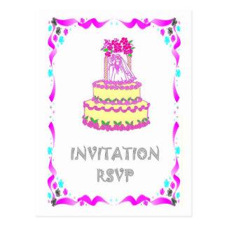 Convite do casamento - bolo de casamento cartoes postais