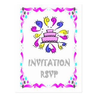 Convite do casamento - bolo de casamento com cartão postal