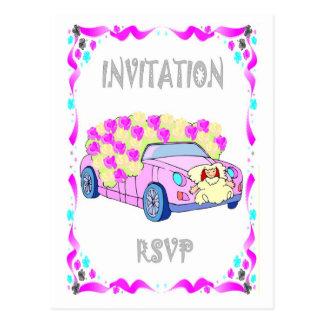 Convite do casamento - carro nupcial cartões postais