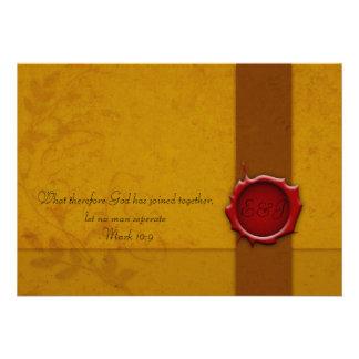 Convite do casamento com selo
