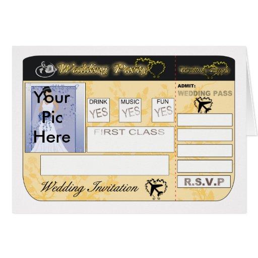 Convite do casamento da passagem de embarque perso cartoes