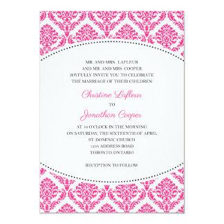 Convite do casamento, damasco clássico, rosa e