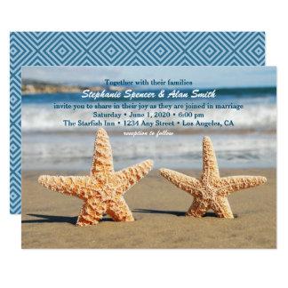Convite do casamento de praia do casal da estrela convite 12.7 x 17.78cm